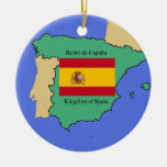 Flag and Map of Spain Ornament