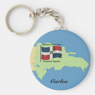 Flag and Map of the Dominican Republic Keychain