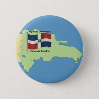 Flag and Map of the Dominican Republic Pinback Button