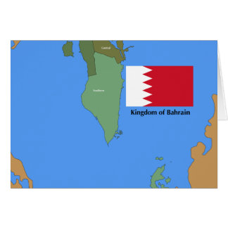 Flag and Map of the Kingdom of Bahrain Cards