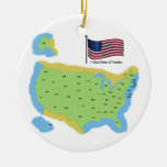 Flag and Map of USA Ornaments
