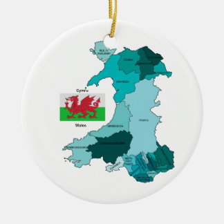 Flag and Map of Wales Ceramic Ornament