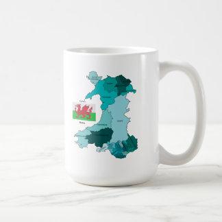 Flag and Map of Wales Coffee Mug