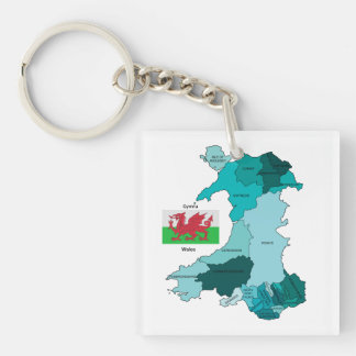 Flag and Map of Wales Keychain