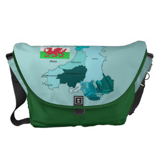 Flag and Map of Wales Courier Bag