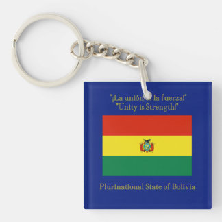 Flag and Motto of Bolivia Keychain