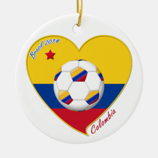 Flag and national team of COLOMBIA SOCCER 2014 Double-Sided Ceramic Round Christmas Ornament