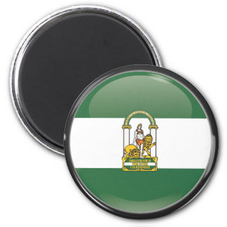 Flag and shield of Andalusia 2 Inch Round Magnet