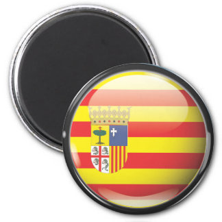 Flag and shield of Aragon 2 Inch Round Magnet