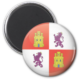 Flag and shield of Castilla and Leon 2 Inch Round Magnet