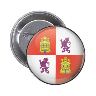 Flag and shield of Castilla and Leon Pinback Button