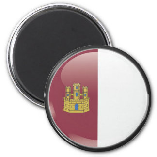 Flag and shield of Castille-La Mancha 2 Inch Round Magnet