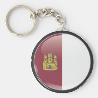 Flag and shield of Castille-La Mancha Basic Round Button Keychain