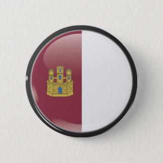 Flag and shield of Castille-La Mancha Pinback Button