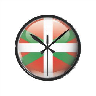 Flag and shield of Euskadi Round Wallclocks