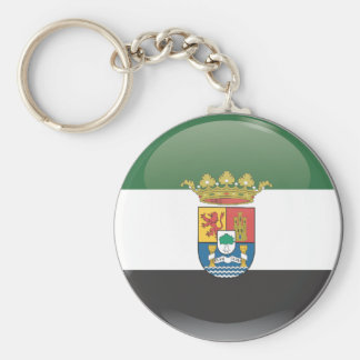 Flag and shield of Extremadura Basic Round Button Keychain