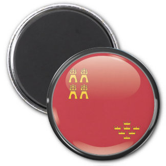 Flag and shield of Murcia 2 Inch Round Magnet