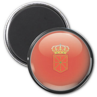 Flag and shield of Navarre 2 Inch Round Magnet