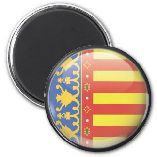 Flag and shield of Valencia 2 Inch Round Magnet