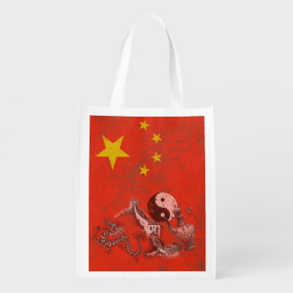Flag and Symbols of China ID158 Grocery Bag