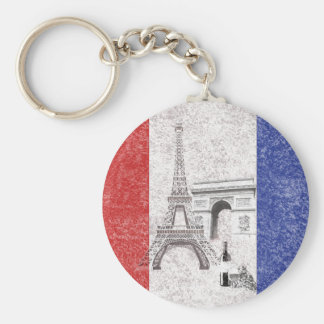 Flag and Symbols of France ID156 Basic Round Button Keychain