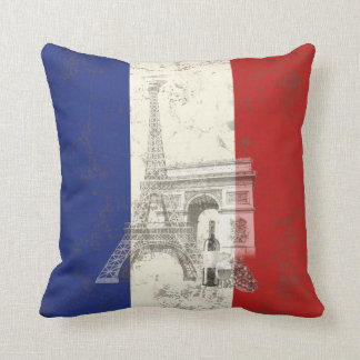 Flag and Symbols of France ID156 Throw Pillow
