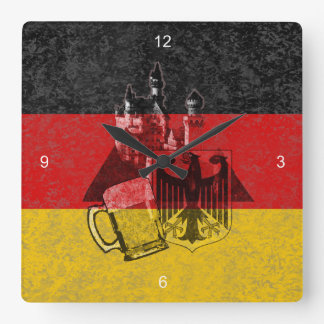 Flag and Symbols of Germany ID152 Square Wall Clock