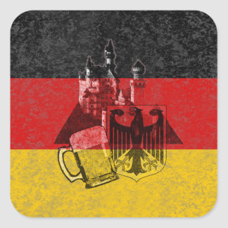 Flag and Symbols of Germany Square Sticker