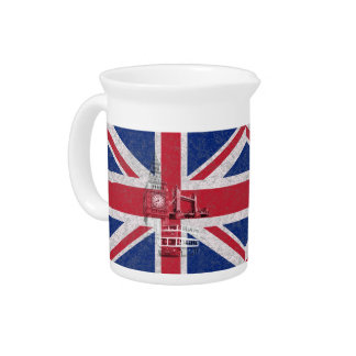 Flag and Symbols of Great Britain ID154 Beverage Pitcher
