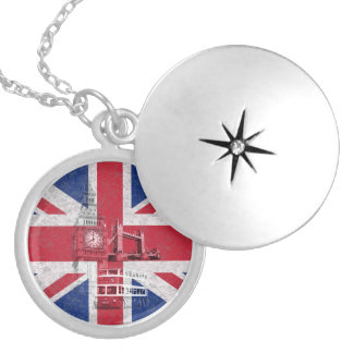 Flag and Symbols of Great Britain ID154 Round Locket Necklace