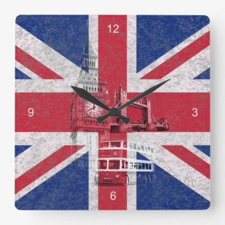 Flag and Symbols of Great Britain ID154 Square Wall Clock