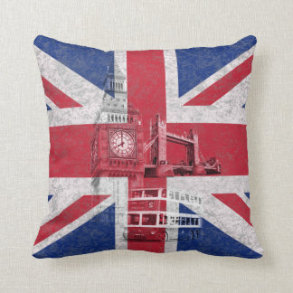 Flag and Symbols of Great Britain ID154 Throw Pillow