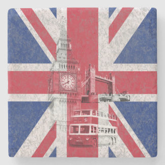Flag and Symbols of Great Britain Stone Coaster
