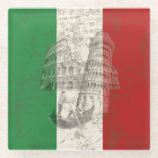 Flag and Symbols of Italy ID157 Glass Coaster