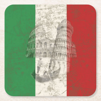 Flag and Symbols of Italy ID157 Square Paper Coaster