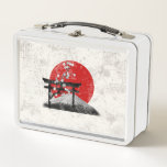 """Flag and Symbols of Japan ID153 Metal Lunch Box<br><div class=""""desc"""">This patriotic lunchbox design features the flag of Japan overlaying images of Mount Fuji,  cherry blossoms and a torii gate...  all with a modern,  distressed effect. Search ID153 to see other products with this design.</div>"""