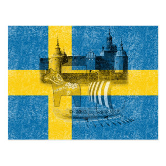 Flag and Symbols of Sweden ID159 Postcard