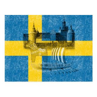 Flag and Symbols of Sweden ID159 Postcard
