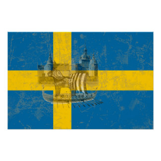Flag and Symbols of Sweden ID159 Poster
