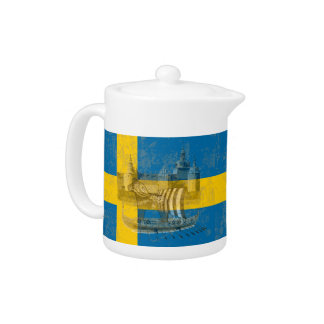 Flag and Symbols of Sweden ID159 Teapot