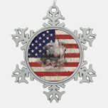 Flag and Symbols of United States ID155 Snowflake Pewter Christmas Ornament