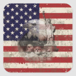 Flag and Symbols of United States ID155 Square Sticker
