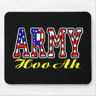 Flag Army Hooah Black Mouse Pad