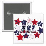 FLAG ASL USA STARS AMERICAN SIGN LANGUAGE BUTTONS