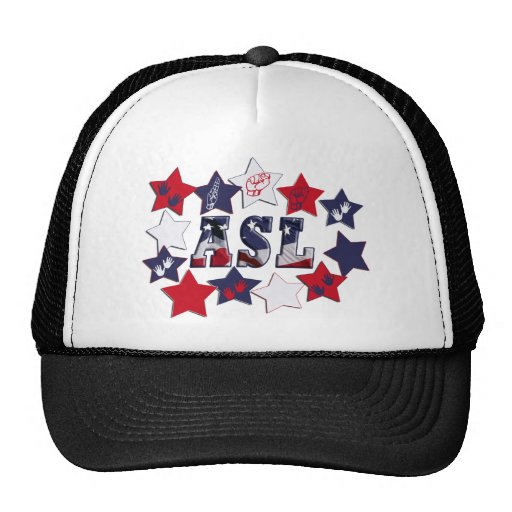 FLAG ASL USA STARS AMERICAN SIGN LANGUAGE TRUCKER HAT