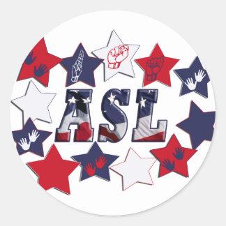 FLAG ASL USA STARS AMERICAN SIGN LANGUAGE STICKERS
