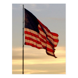 flag at sunset postcard