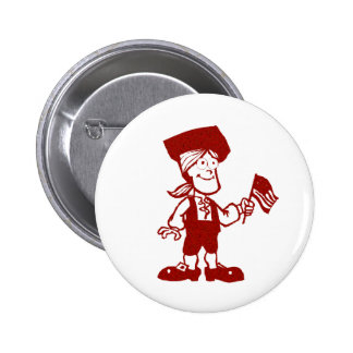 Flag Bearing Colonial Man Pinback Button