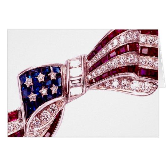 Flag Bow Rhinestones Diamonds Blank Note July 4th Card