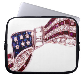 Flag Bow Vintage Costume Jewelry Laptop Sleeve